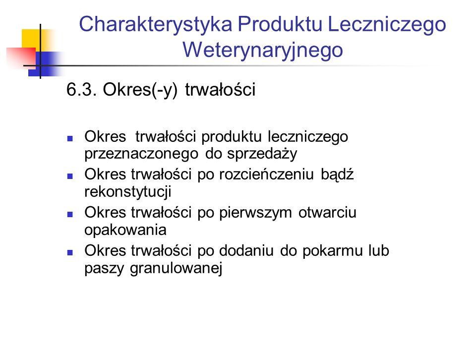 Charakterystyka Produktu Leczniczego Weterynaryjnego 6.3.
