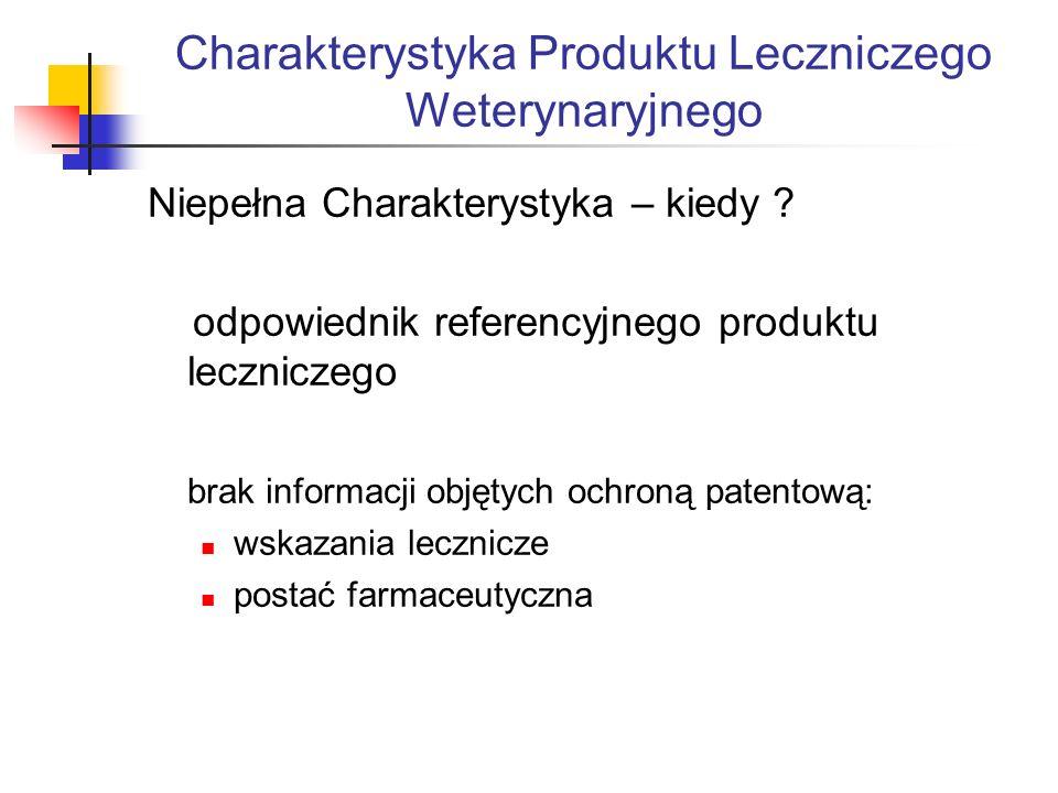 Charakterystyka Produktu Leczniczego Weterynaryjnego Niepełna Charakterystyka – kiedy .