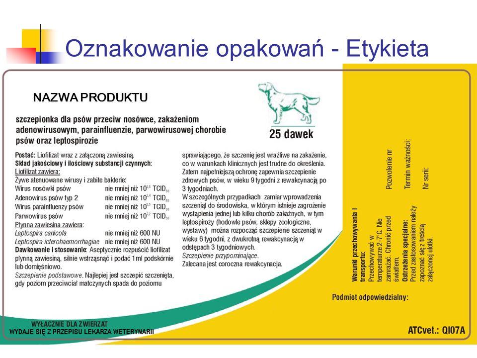 Oznakowanie opakowań - Etykieta NAZWA PRODUKTU