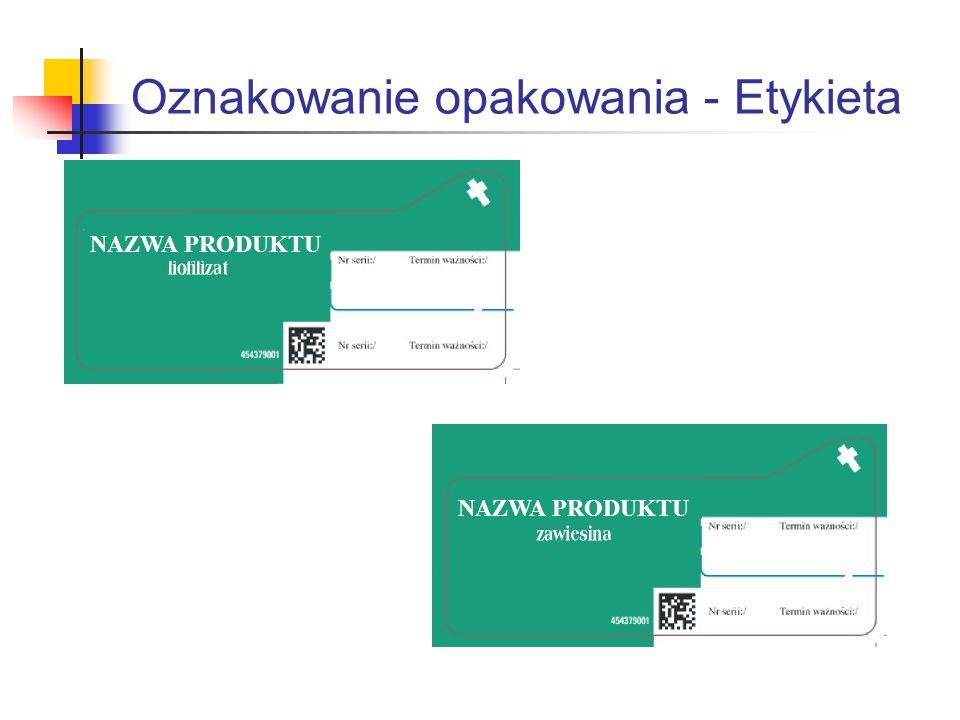 Oznakowanie opakowania - Etykieta NAZWA PRODUKTU