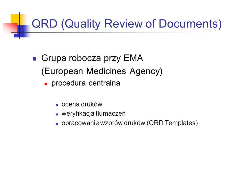 QRD (Quality Review of Documents) Grupa robocza przy EMA (European Medicines Agency) procedura centralna ocena druków weryfikacja tłumaczeń opracowanie wzorów druków (QRD Templates)