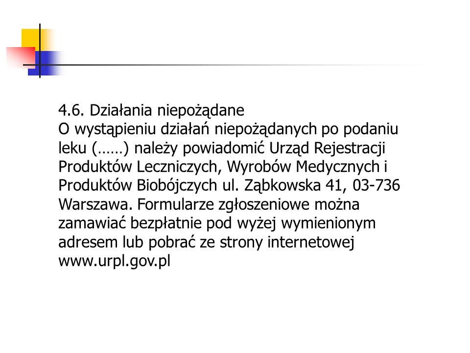 4.6. Działania niepożądane O wystąpieniu działań niepożądanych po podaniu leku (……) należy powiadomić Urząd Rejestracji Produktów Leczniczych, Wyrobów