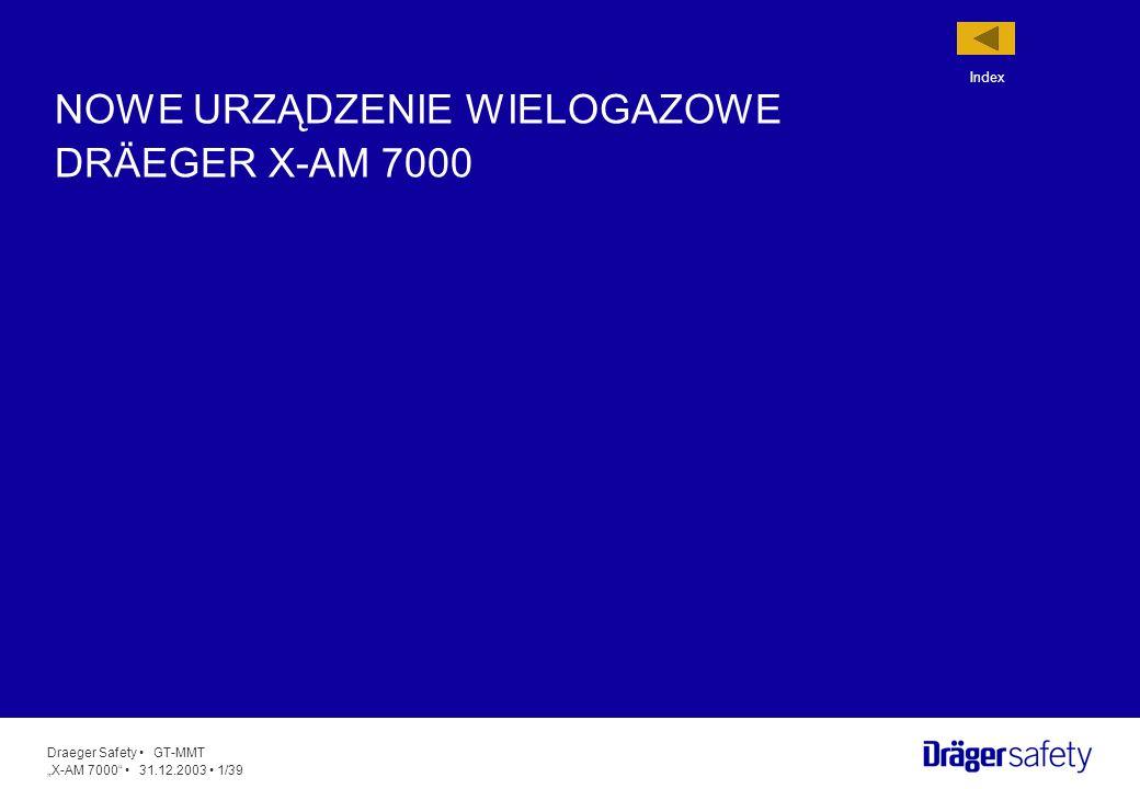 Draeger Safety GT-MMT X-AM 7000 31.12.2003 22/39 Alarm wstępny i główny koncentracji A1 & A2 Alarm przy przekroczeniu średniej wartości długo- i krótkoczasowej dla gazów toksycznych (MAK & STEL) Alarm błędu (włącznie z alarmem zablokowanej pompy) Alarm wstępny i główny baterii Wyłączenie alarmu akustycznego Do dyspozycji są następujące tryby alarmowe: Alarm wskazany zostanie za pomocą bardzo głośnego sygnału akustycznego (>95 dB) i czerwonego alarmu optycznego.