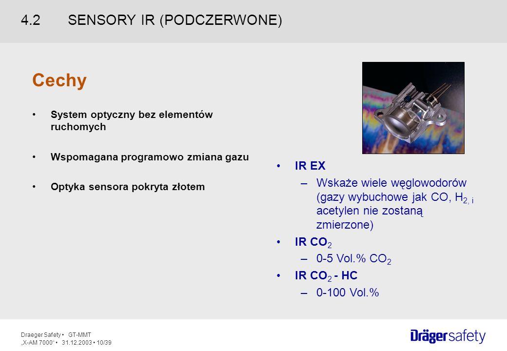 Draeger Safety GT-MMT X-AM 7000 31.12.2003 10/39 IR EX –Wskaże wiele węglowodorów (gazy wybuchowe jak CO, H 2, i acetylen nie zostaną zmierzone) IR CO