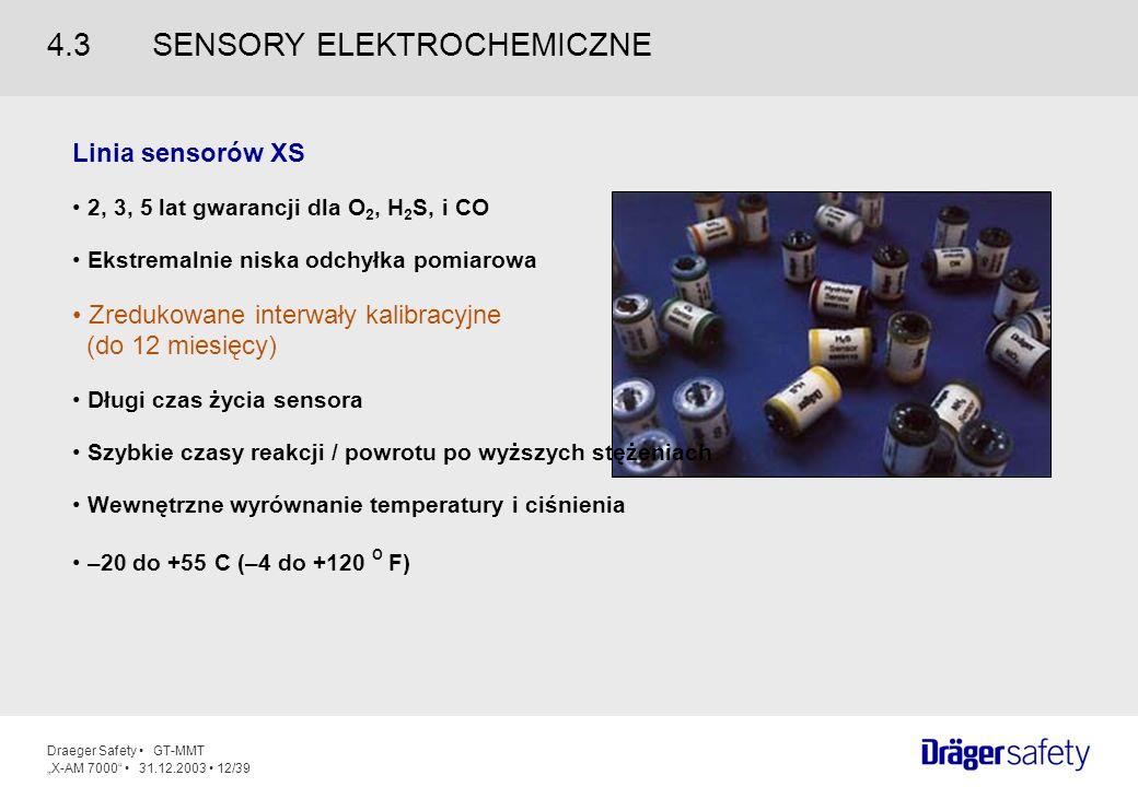 Draeger Safety GT-MMT X-AM 7000 31.12.2003 12/39 Linia sensorów XS 2, 3, 5 lat gwarancji dla O 2, H 2 S, i CO Ekstremalnie niska odchyłka pomiarowa Zr