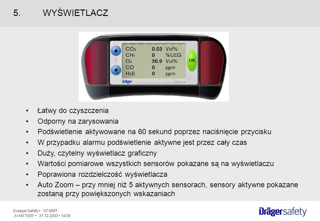 Draeger Safety GT-MMT X-AM 7000 31.12.2003 14/39 Łatwy do czyszczenia Odporny na zarysowania Podświetlenie aktywowane na 60 sekund poprzez naciśnięcie
