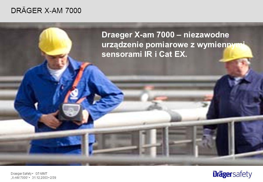 Draeger Safety GT-MMT X-AM 7000 31.12.2003 23/39 Dostępne są 3 rodzaje zasilania: Akumulator NiMHy 3 Ah – 1 rok gwarancji Akumulator NiMHy 6 Ah – 2 lata gwarancji Zasilanie z baterii alkalicznych Jednostki zasilające samoistnie bezpieczne 14.ZASILANIE
