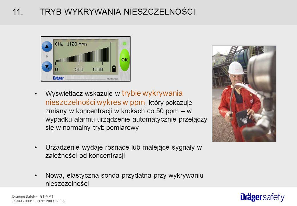 Draeger Safety GT-MMT X-AM 7000 31.12.2003 20/39 Wyświetlacz wskazuje w trybie wykrywania nieszczelności wykres w ppm, który pokazuje zmiany w koncent