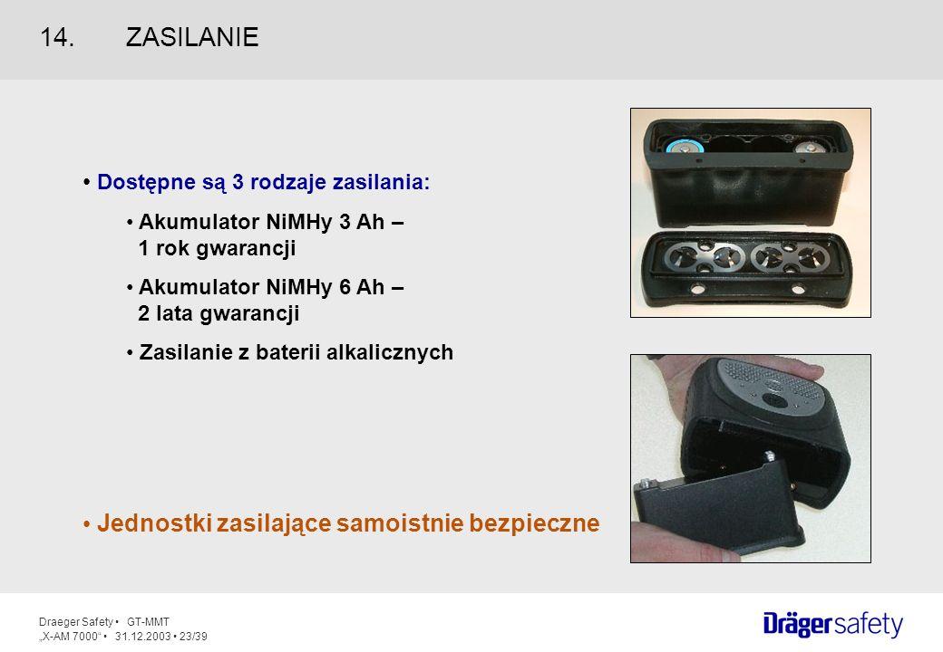 Draeger Safety GT-MMT X-AM 7000 31.12.2003 23/39 Dostępne są 3 rodzaje zasilania: Akumulator NiMHy 3 Ah – 1 rok gwarancji Akumulator NiMHy 6 Ah – 2 la
