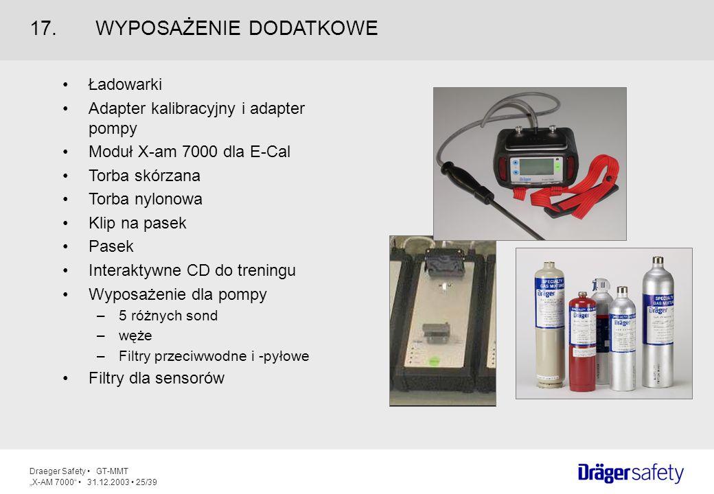 Draeger Safety GT-MMT X-AM 7000 31.12.2003 25/39 Ładowarki Adapter kalibracyjny i adapter pompy Moduł X-am 7000 dla E-Cal Torba skórzana Torba nylonow
