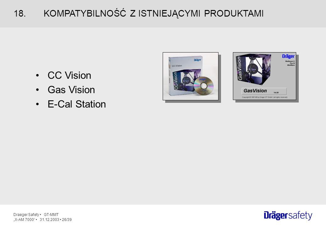 Draeger Safety GT-MMT X-AM 7000 31.12.2003 26/39 CC Vision Gas Vision E-Cal Station 18.KOMPATYBILNOŚĆ Z ISTNIEJĄCYMI PRODUKTAMI