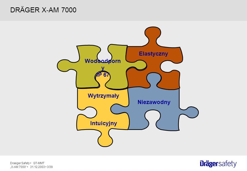 Draeger Safety GT-MMT X-AM 7000 31.12.2003 14/39 Łatwy do czyszczenia Odporny na zarysowania Podświetlenie aktywowane na 60 sekund poprzez naciśnięcie przycisku W przypadku alarmu podświetlenie aktywne jest przez cały czas Duży, czytelny wyświetlacz graficzny Wartości pomiarowe wszystkich sensorów pokazane są na wyświetlaczu Poprawiona rozdzielczość wyświetlacza Auto Zoom – przy mniej niż 5 aktywnych sensorach, sensory aktywne pokazane zostaną przy powiększonych wskazaniach 5.WYŚWIETLACZ