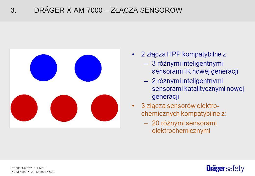 Draeger Safety GT-MMT X-AM 7000 31.12.2003 7/39 Inteligentne sensory: prekalibrowane Plug and Play (klient sam może wymieniać sensory) chip w sensorze zawiera dane pomiarowe wytrzymałe na uderzenia autotest sensora Elastyczność: zastosowanie do 5 sensorów jednocześnie 3 elektrochemiczne i 2 katalityczne sensory lub sensory IR (podczerwone) Różnorodność: ponad 25 różnych sensorów w ofercie MIERZALNE PONAD 100 GAZÓW 4.SENSORY
