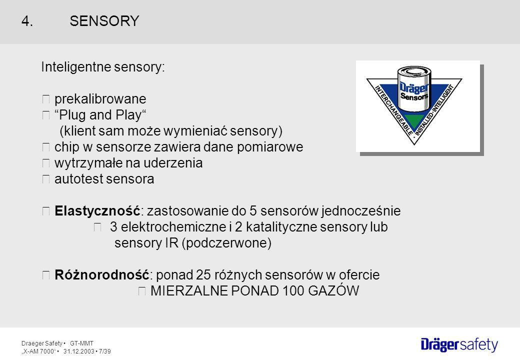 Draeger Safety GT-MMT X-AM 7000 31.12.2003 8/39 Możliwa kalibracja gazów docelowych Detekcja i kalibracja gazów organicznych Filtr H2S zmniejsza zagrożenie zatruciem 10krotnie wyższa odporność na uderzenia w porównaniu z MUWA II Pełny tryb pomiarowy dla sensorów skalibrowanych na metan (urządzenie przełącza się automatycznie z % DGW na % obj.) 4.1SENSORY KATALITYCZNE (0-100 %DGW & 0-100% OBJ.) Cechy