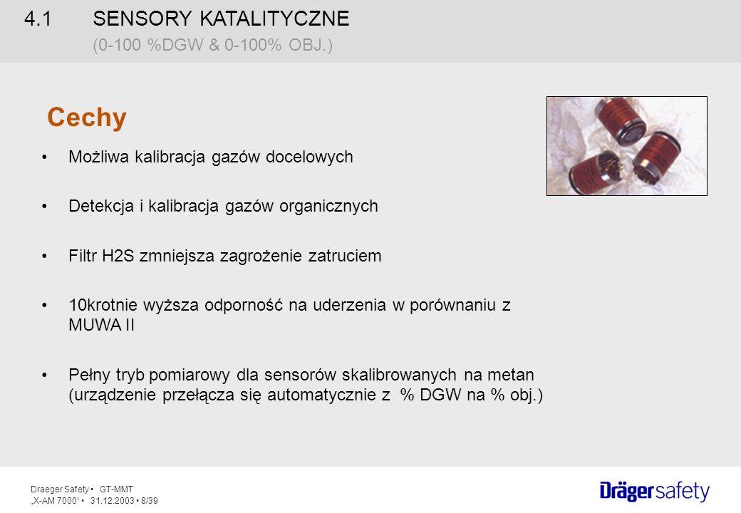 Draeger Safety GT-MMT X-AM 7000 31.12.2003 9/39 4.1 SENSORY KATALITYCZNE (0-100 %DGW & 0-100% OBJ.) Zalety Jedno urządzenie do różnych zadań Pomiar metanu w zakresie % ob.
