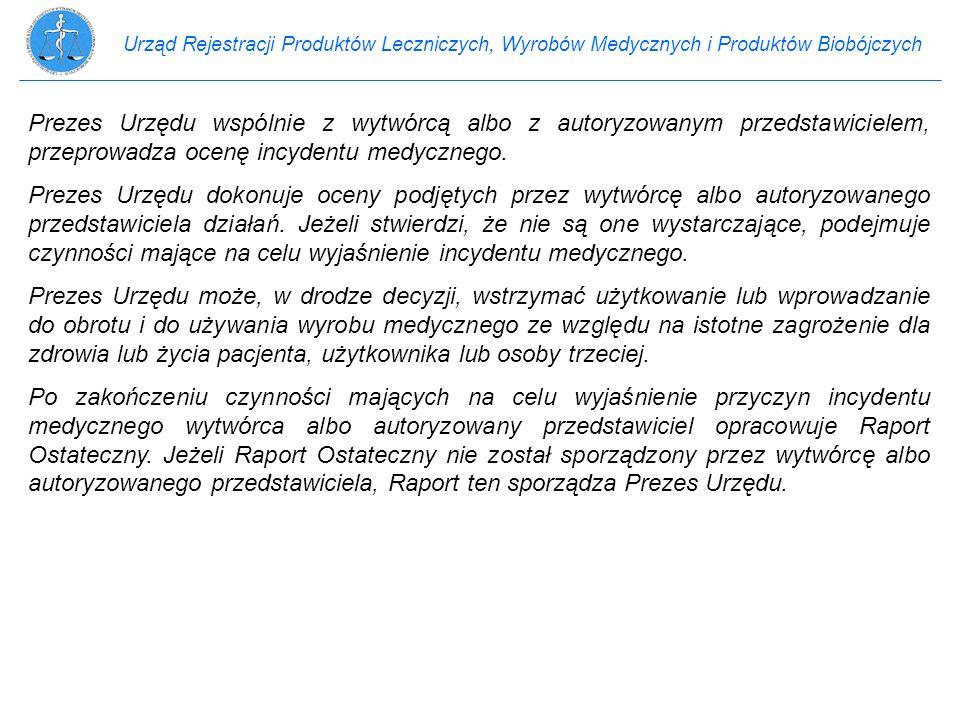 Urząd Rejestracji Produktów Leczniczych, Wyrobów Medycznych i Produktów Biobójczych Prezes Urzędu wspólnie z wytwórcą albo z autoryzowanym przedstawic