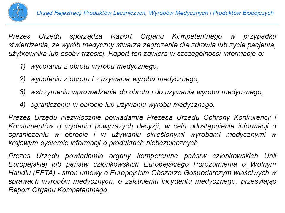 Urząd Rejestracji Produktów Leczniczych, Wyrobów Medycznych i Produktów Biobójczych Prezes Urzędu sporządza Raport Organu Kompetentnego w przypadku st