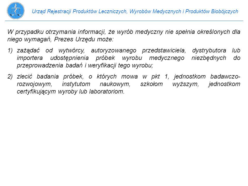 Urząd Rejestracji Produktów Leczniczych, Wyrobów Medycznych i Produktów Biobójczych W przypadku otrzymania informacji, że wyrób medyczny nie spełnia o