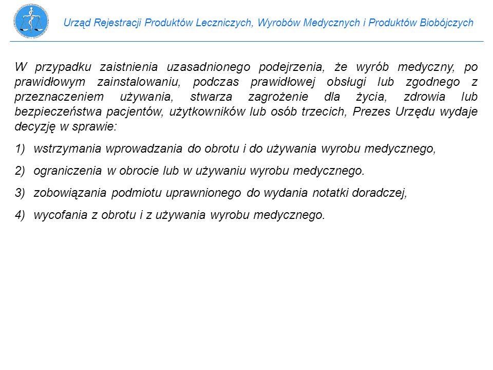 Urząd Rejestracji Produktów Leczniczych, Wyrobów Medycznych i Produktów Biobójczych W przypadku zaistnienia uzasadnionego podejrzenia, że wyrób medycz