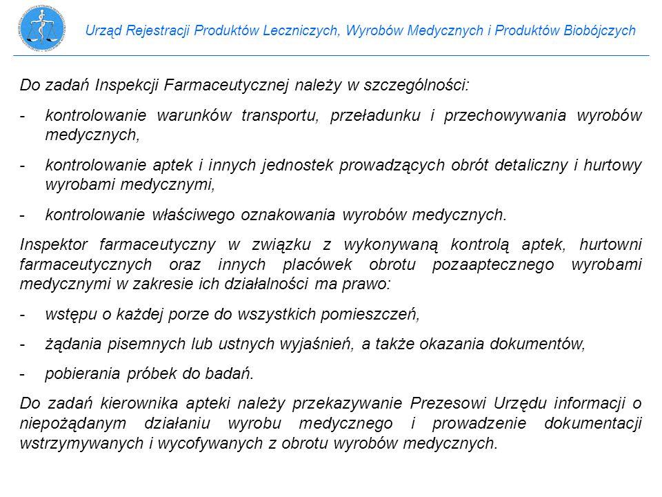 Urząd Rejestracji Produktów Leczniczych, Wyrobów Medycznych i Produktów Biobójczych Do zadań Inspekcji Farmaceutycznej należy w szczególności: -kontro