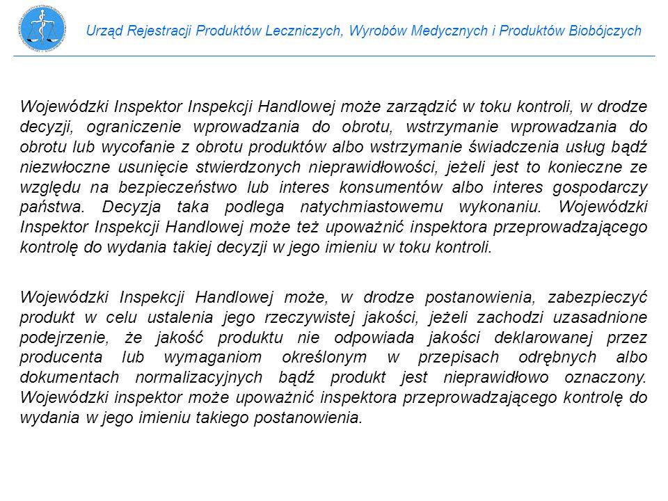 Urząd Rejestracji Produktów Leczniczych, Wyrobów Medycznych i Produktów Biobójczych Wojewódzki Inspektor Inspekcji Handlowej może zarządzić w toku kon