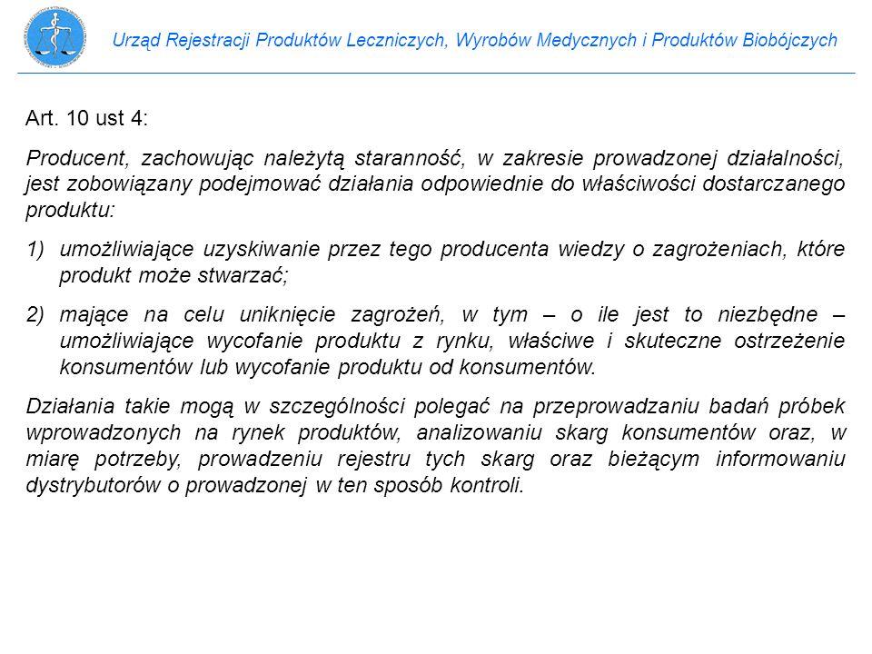 Urząd Rejestracji Produktów Leczniczych, Wyrobów Medycznych i Produktów Biobójczych Art. 10 ust 4: Producent, zachowując należytą staranność, w zakres
