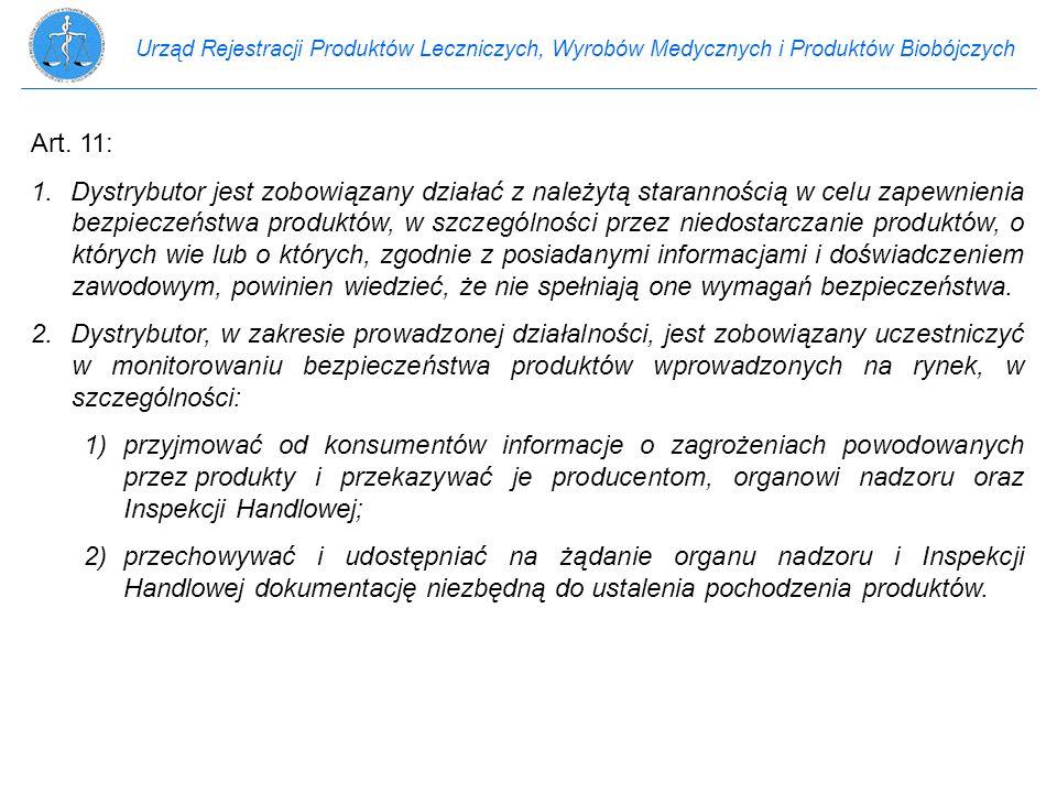 Urząd Rejestracji Produktów Leczniczych, Wyrobów Medycznych i Produktów Biobójczych Art. 11: 1.Dystrybutor jest zobowiązany działać z należytą starann