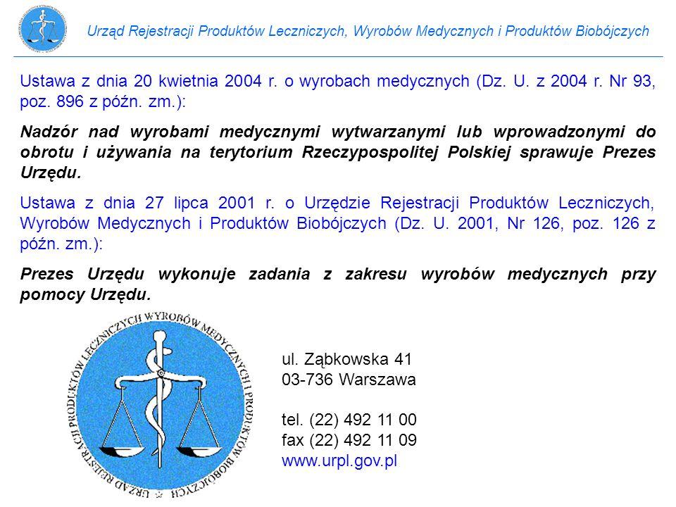 Urząd Rejestracji Produktów Leczniczych, Wyrobów Medycznych i Produktów Biobójczych Ustawa z dnia 20 kwietnia 2004 r. o wyrobach medycznych (Dz. U. z