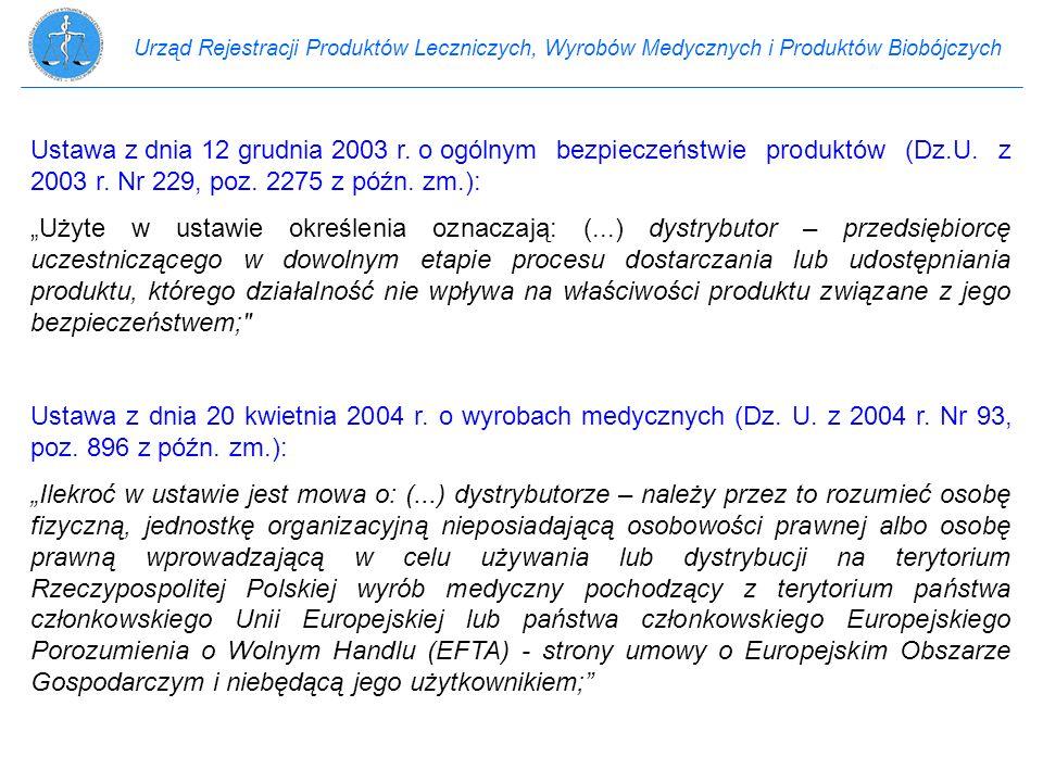 Urząd Rejestracji Produktów Leczniczych, Wyrobów Medycznych i Produktów Biobójczych Ustawa z dnia 12 grudnia 2003 r. o ogólnym bezpieczeństwie produkt