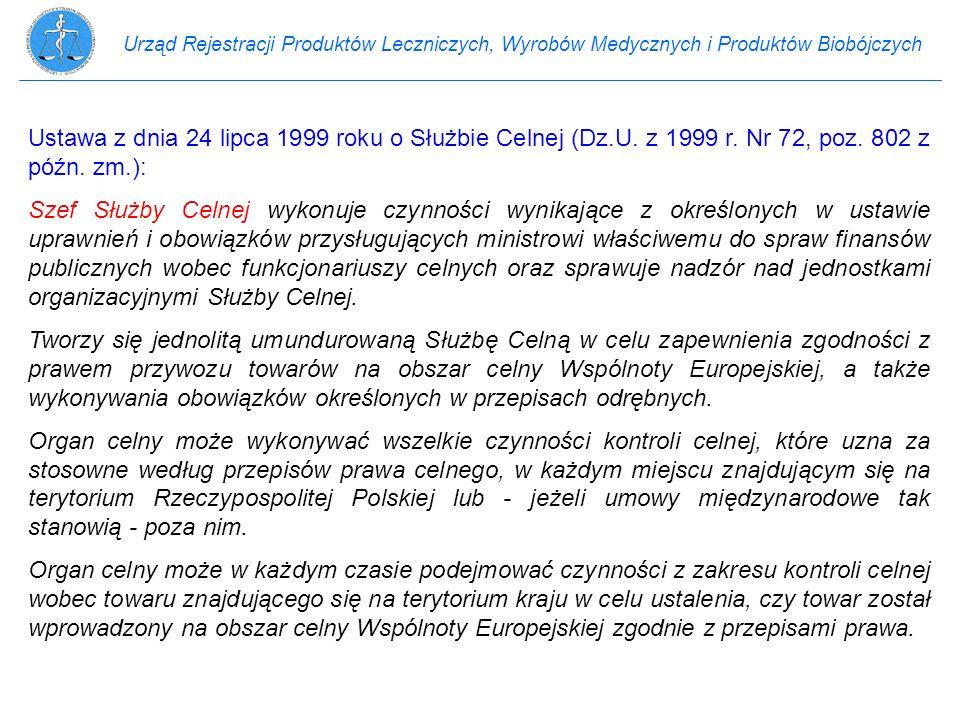 Urząd Rejestracji Produktów Leczniczych, Wyrobów Medycznych i Produktów Biobójczych Ustawa z dnia 24 lipca 1999 roku o Służbie Celnej (Dz.U. z 1999 r.