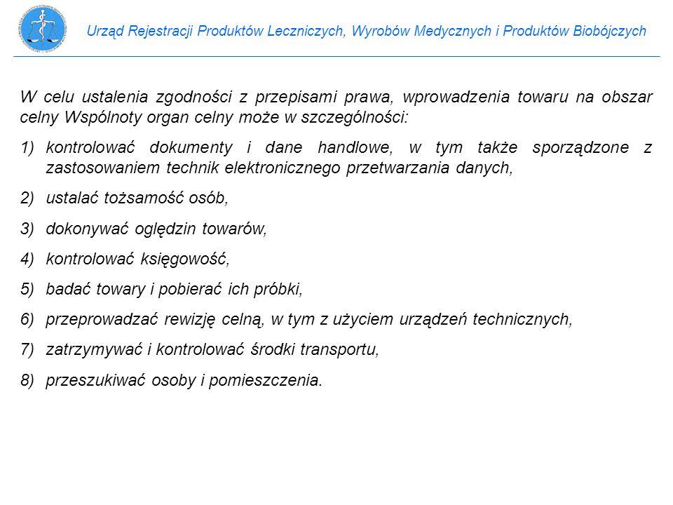 Urząd Rejestracji Produktów Leczniczych, Wyrobów Medycznych i Produktów Biobójczych W celu ustalenia zgodności z przepisami prawa, wprowadzenia towaru