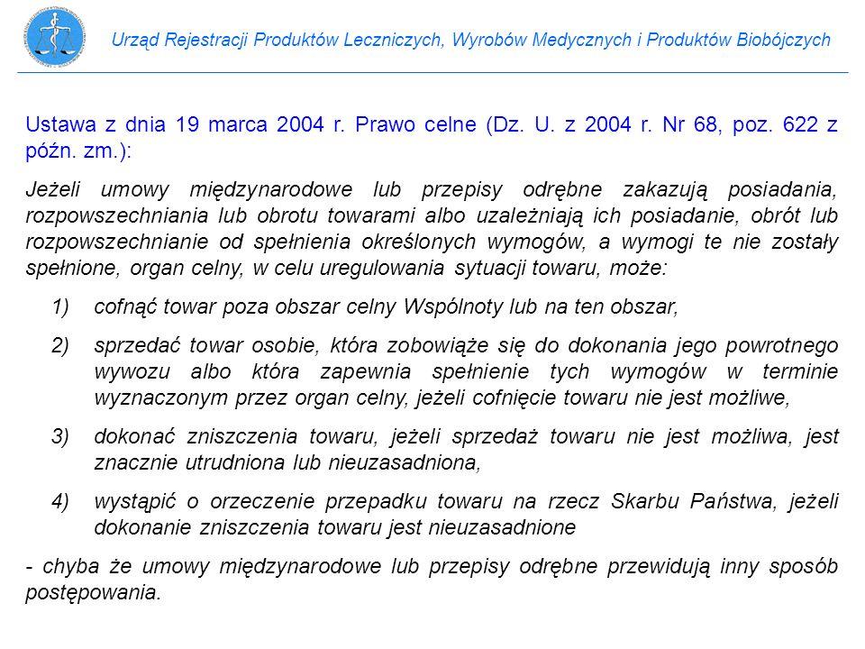 Urząd Rejestracji Produktów Leczniczych, Wyrobów Medycznych i Produktów Biobójczych Ustawa z dnia 19 marca 2004 r. Prawo celne (Dz. U. z 2004 r. Nr 68