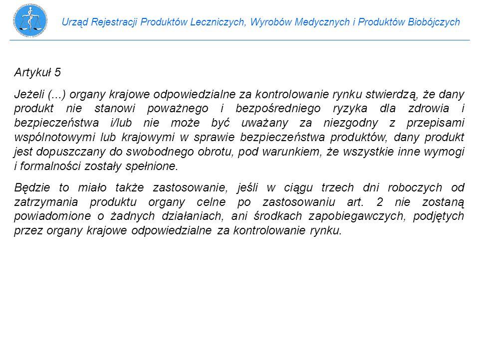Urząd Rejestracji Produktów Leczniczych, Wyrobów Medycznych i Produktów Biobójczych Artykuł 5 Jeżeli (...) organy krajowe odpowiedzialne za kontrolowa