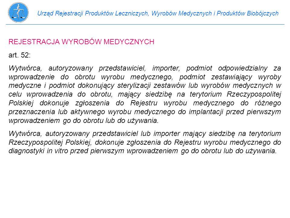 Urząd Rejestracji Produktów Leczniczych, Wyrobów Medycznych i Produktów Biobójczych REJESTRACJA WYROBÓW MEDYCZNYCH art. 52: Wytwórca, autoryzowany prz