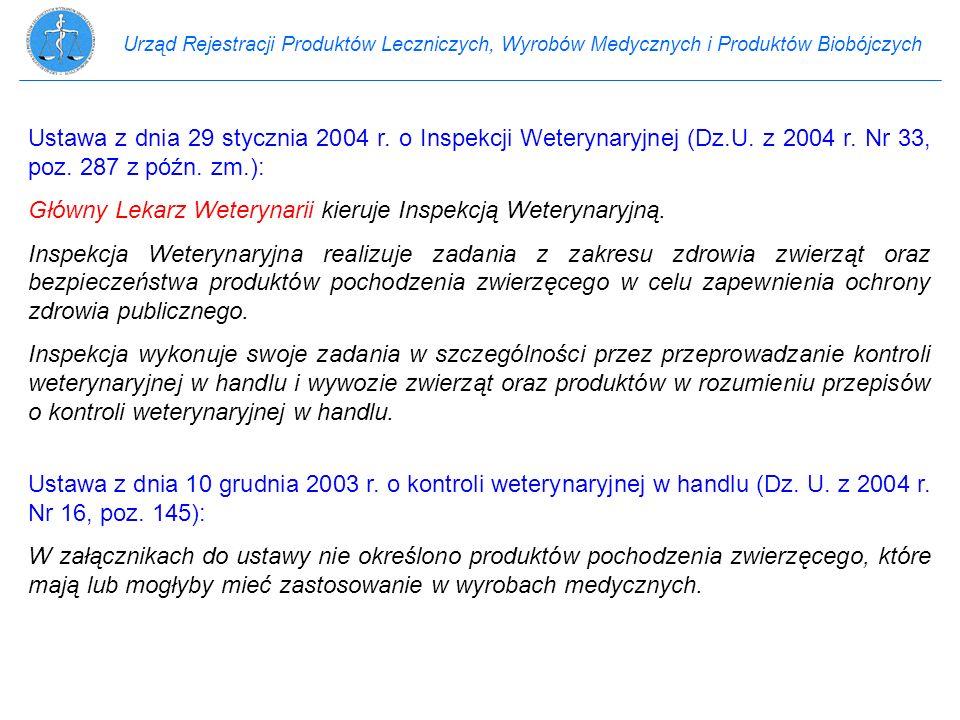 Urząd Rejestracji Produktów Leczniczych, Wyrobów Medycznych i Produktów Biobójczych Ustawa z dnia 29 stycznia 2004 r. o Inspekcji Weterynaryjnej (Dz.U