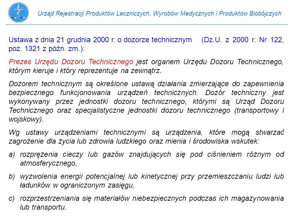 Urząd Rejestracji Produktów Leczniczych, Wyrobów Medycznych i Produktów Biobójczych Ustawa z dnia 21 grudnia 2000 r. o dozorze technicznym(Dz.U. z 200