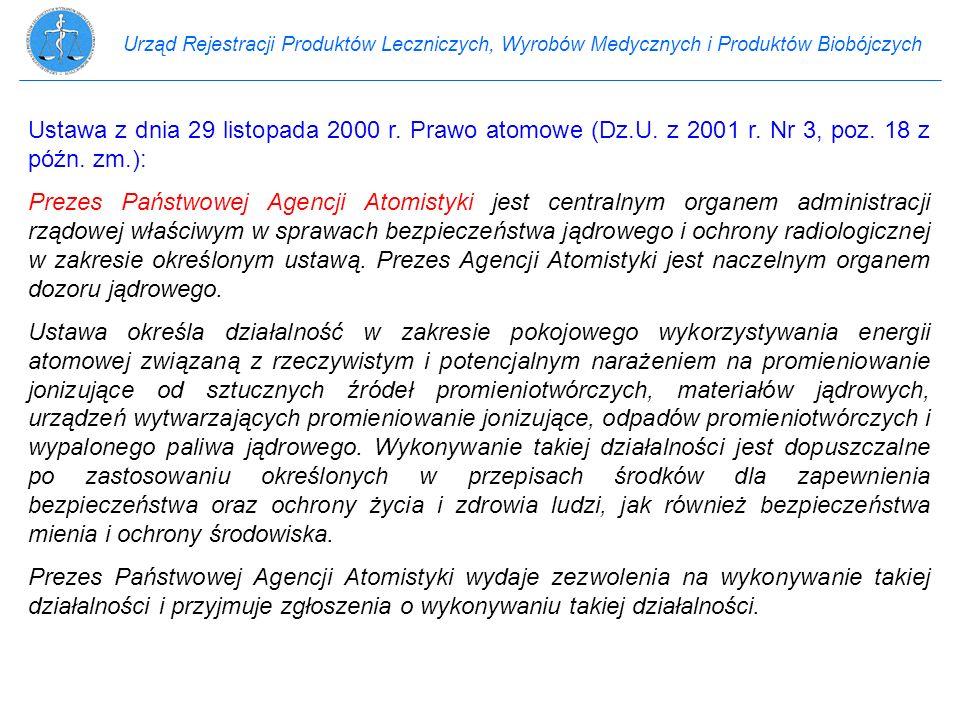 Urząd Rejestracji Produktów Leczniczych, Wyrobów Medycznych i Produktów Biobójczych Ustawa z dnia 29 listopada 2000 r. Prawo atomowe (Dz.U. z 2001 r.