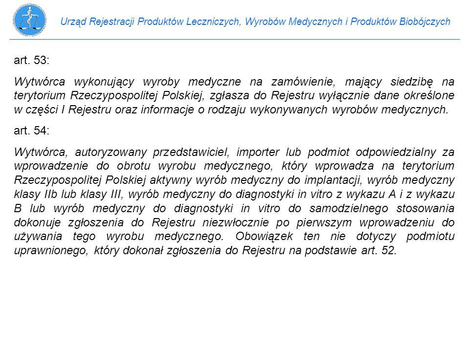 Urząd Rejestracji Produktów Leczniczych, Wyrobów Medycznych i Produktów Biobójczych art. 53: Wytwórca wykonujący wyroby medyczne na zamówienie, mający
