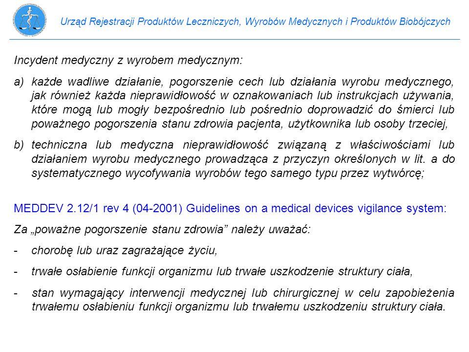 Urząd Rejestracji Produktów Leczniczych, Wyrobów Medycznych i Produktów Biobójczych Incydent medyczny z wyrobem medycznym: a)każde wadliwe działanie,