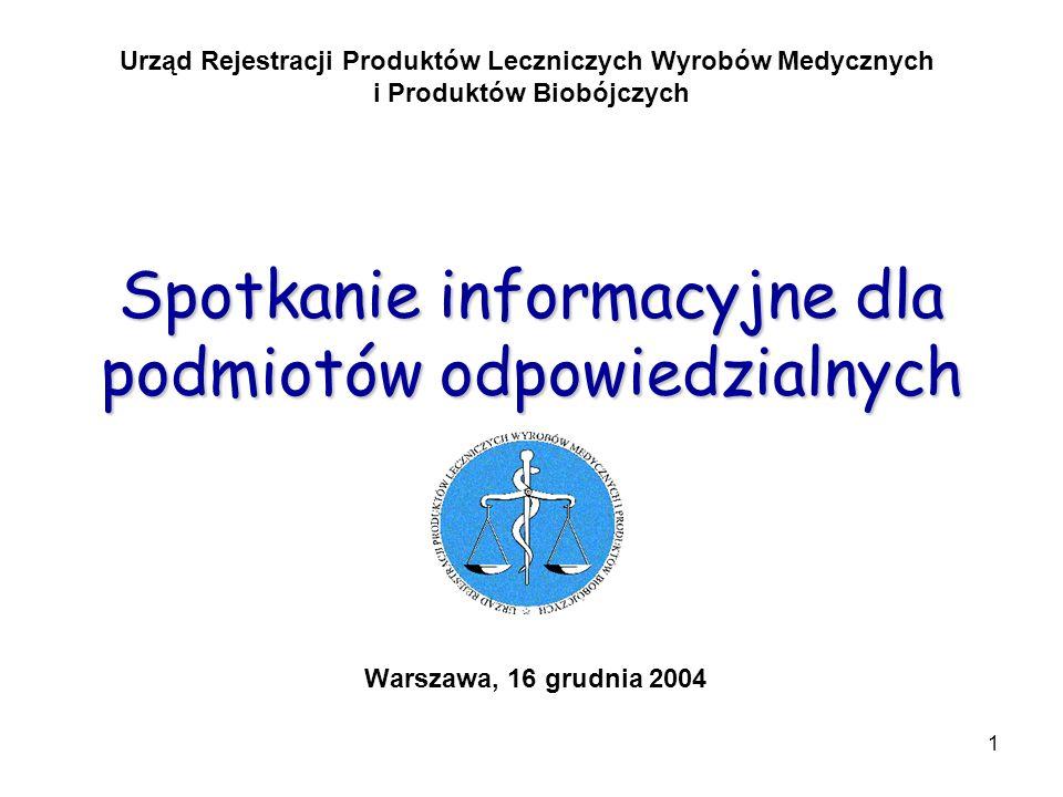 1 Spotkanie informacyjne dla podmiotów odpowiedzialnych Warszawa, 16 grudnia 2004 Urząd Rejestracji Produktów Leczniczych Wyrobów Medycznych i Produkt