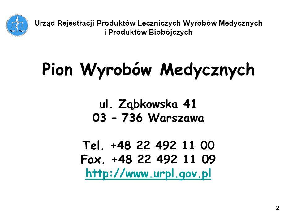 2 Pion Wyrobów Medycznych ul. Ząbkowska 41 03 – 736 Warszawa Tel. +48 22 492 11 00 Fax. +48 22 492 11 09 http://www.urpl.gov.pl