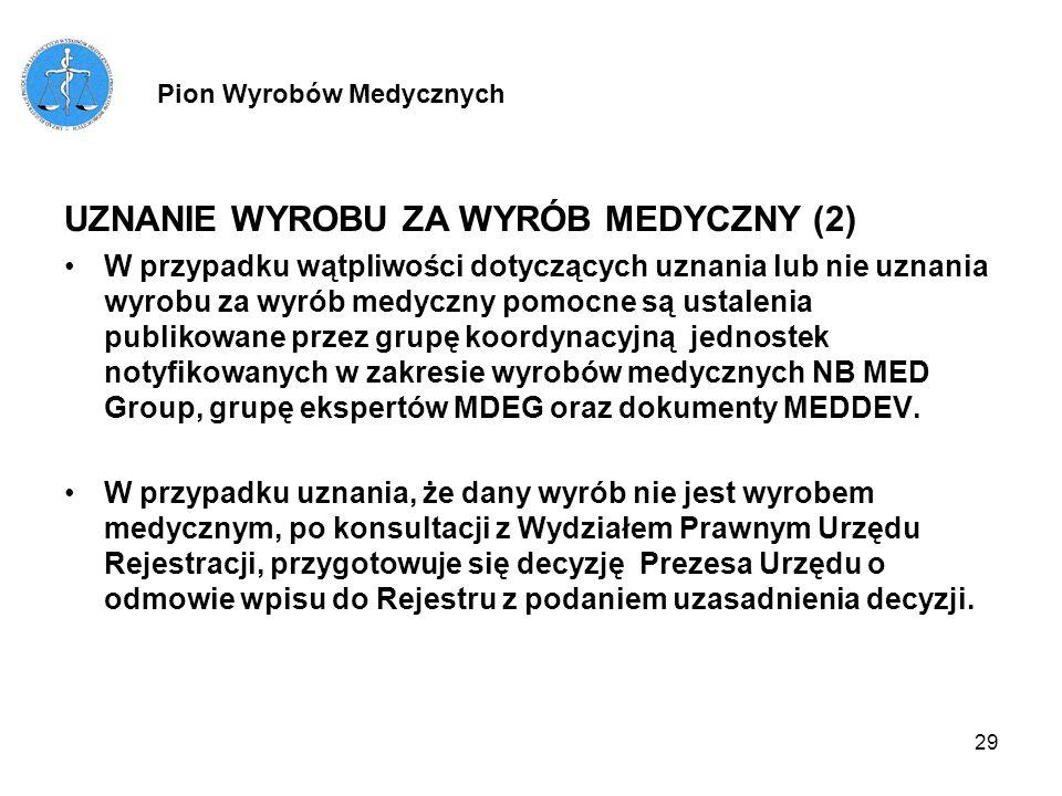 29 UZNANIE WYROBU ZA WYRÓB MEDYCZNY (2) W przypadku wątpliwości dotyczących uznania lub nie uznania wyrobu za wyrób medyczny pomocne są ustalenia publ
