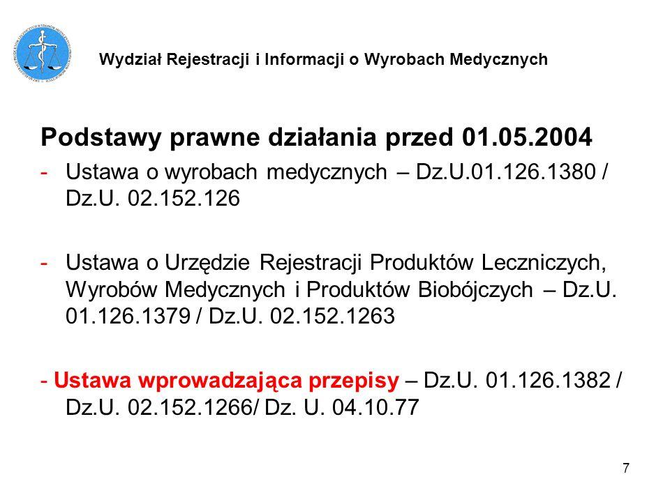 7 Podstawy prawne działania przed 01.05.2004 -Ustawa o wyrobach medycznych – Dz.U.01.126.1380 / Dz.U. 02.152.126 -Ustawa o Urzędzie Rejestracji Produk