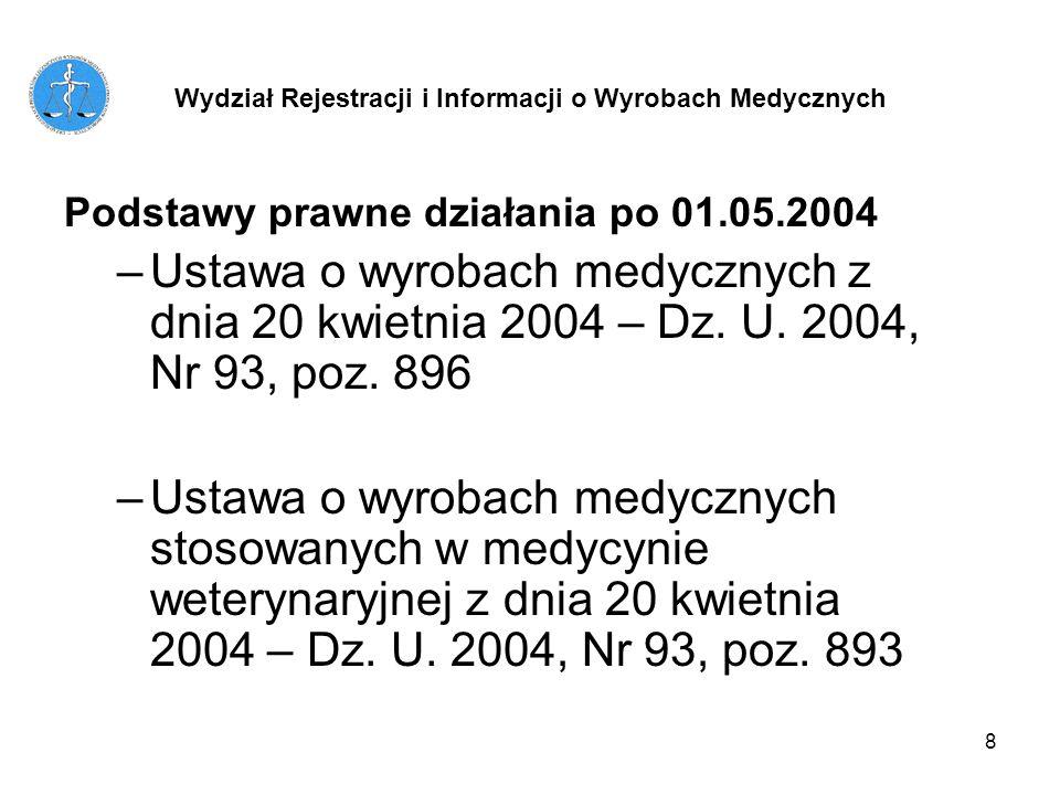 8 Podstawy prawne działania po 01.05.2004 –Ustawa o wyrobach medycznych z dnia 20 kwietnia 2004 – Dz. U. 2004, Nr 93, poz. 896 –Ustawa o wyrobach medy