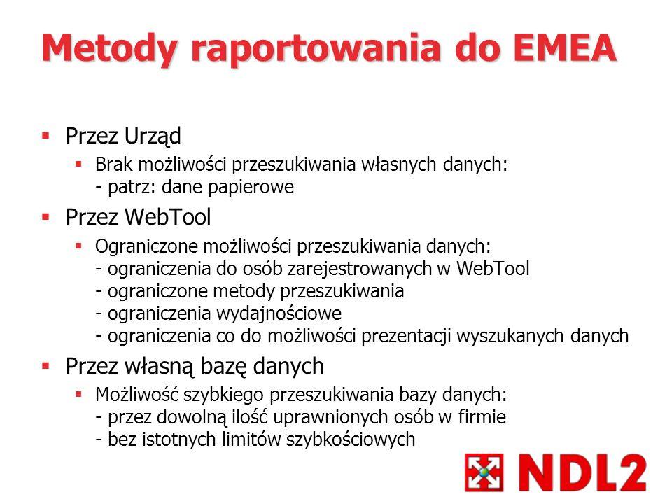 Metody raportowania do EMEA Przez Urząd Brak możliwości przeszukiwania własnych danych: - patrz: dane papierowe Przez WebTool Ograniczone możliwości p