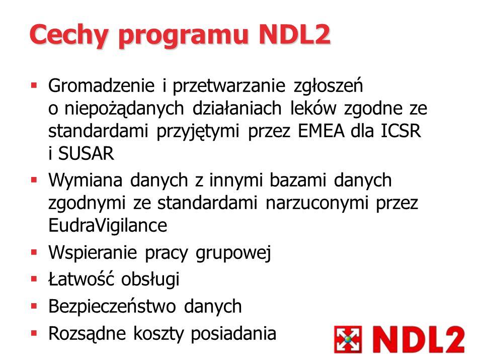 Cechy programu NDL2 Gromadzenie i przetwarzanie zgłoszeń o niepożądanych działaniach leków zgodne ze standardami przyjętymi przez EMEA dla ICSR i SUSA