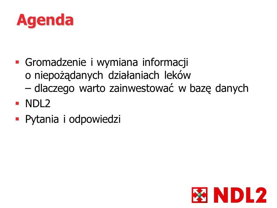 Agenda Gromadzenie i wymiana informacji o niepożądanych działaniach leków – dlaczego warto zainwestować w bazę danych NDL2 Pytania i odpowiedzi