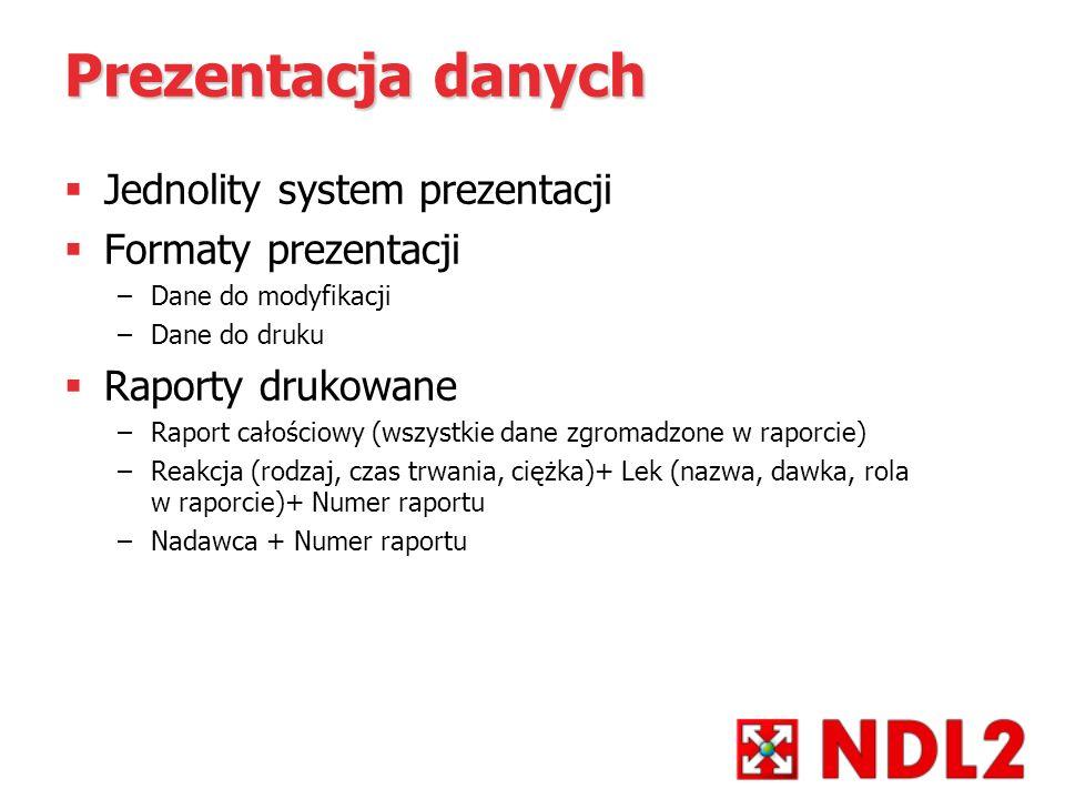 Prezentacja danych Jednolity system prezentacji Formaty prezentacji –Dane do modyfikacji –Dane do druku Raporty drukowane –Raport całościowy (wszystki