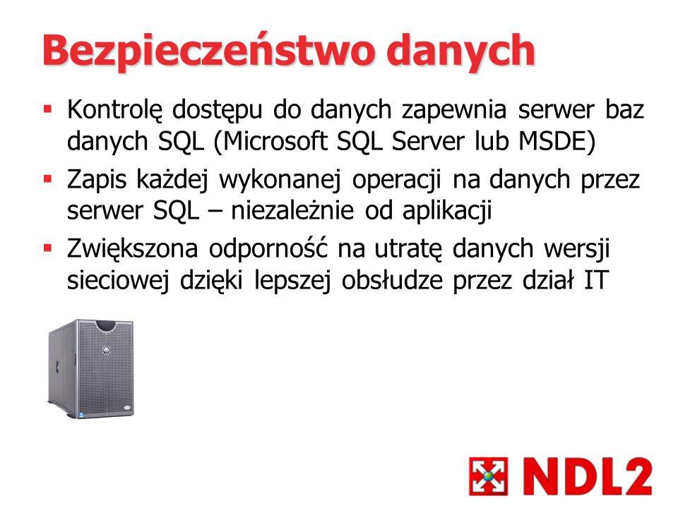 Bezpieczeństwo danych Kontrolę dostępu do danych zapewnia serwer baz danych SQL (Microsoft SQL Server lub MSDE) Zapis każdej wykonanej operacji na dan