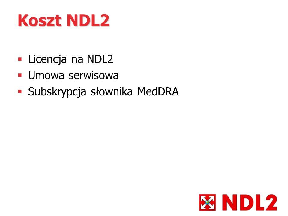 Koszt NDL2 Licencja na NDL2 Umowa serwisowa Subskrypcja słownika MedDRA